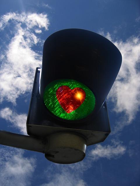 semafor se srdíčkem