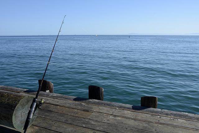 moře, molo, prut, rybaření