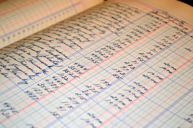stránky účetní knihy